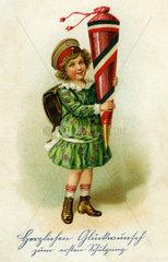 Herzlichen Glueckwunsch zum ersten Schulgang  Schuelerin  1917