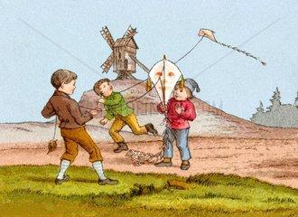 Kinder lassen Drachen steigen  1865