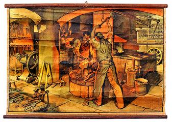 Schulwandtafel  Schmied bei der Arbeit  1913