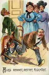 Ehefrauen erwischen ihre Maenner beim Kartenspiel  1910