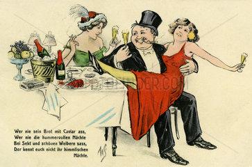 Millionaer feiert mit 2 Frauen  Karikatur  1909