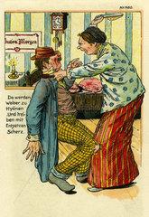 Ehefrau schlaegt ihen betrunkenen Mann  Humor  1911