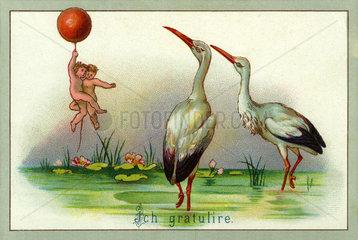 Glueckwunschkaertchen zur Geburt  Klapperstorch  1897