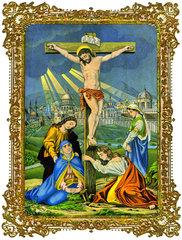 Jesus  Tod am Kreuz  Wandbild  1880