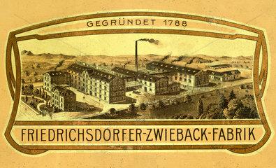 Friedrichsdorfer Zwiebackfabrik  1898