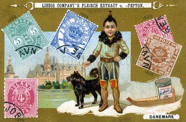 daenische Briefmarken  Liebig Sammelbild  1898
