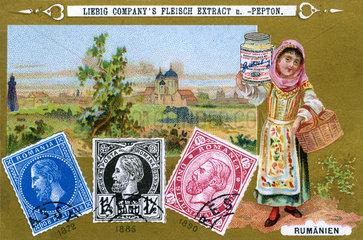 rumaenische Briefmarken  Liebig Sammelbild  1898