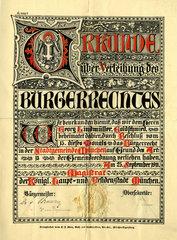 Urkunde  Verleihung der Buergerrechte  Muenchen 1911