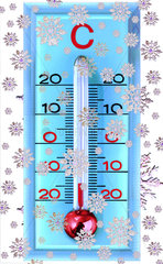 Schneefall  altes Thermometer  Wintersymbol