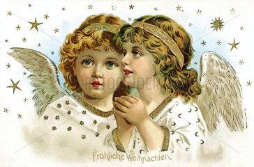 Weihnachtskarte  zwei Engelchen  1897