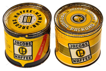 Jacobs Kaffee  zwei Packungen  Blechdosen  1959