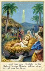 Jesuskind in der Krippe  Gebetszettel  1892