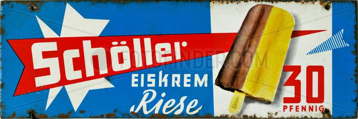 Schoeller Eiskrem  Verkaufsschild  1965