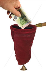 Klingelbeutel  Kollekte  Geld spenden