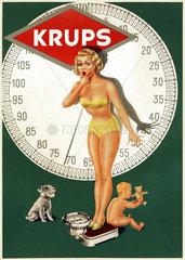 Krups-Personenwaage  Werbeschild  um 1953