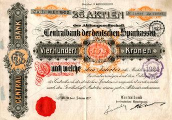 historische Aktie  Centralbank der deutschen Sparkassen  1922
