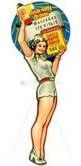 Pin Up  Werbung fuer Shell Motoroel  um 1951