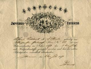 Impfbescheinigung  Pockenimpfung  1874