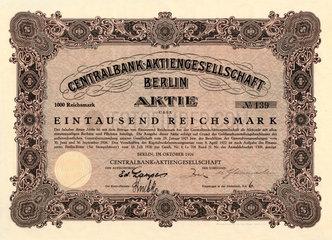 historische Bank-Aktie  1926