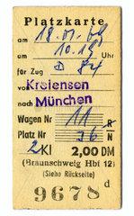 Platzkarte  Deutsche Bundesbahn  1969