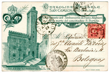 Postkarte San Gimignano  Toskana  1899