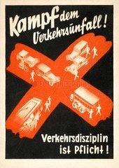 Plakat zur Verkehrssicherheit um 1935