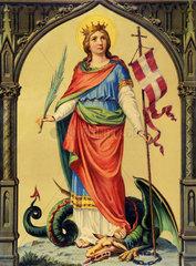 Heilige Margareta  Wandbild  um 1880