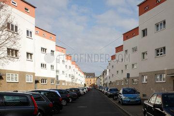 Frankfurt  Deutschland  Mehrfamilienhaeuser in der Siedlung Bruchfeldstrasse