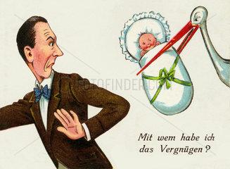 Karikatur ungewollte Vaterschaft  um 1926