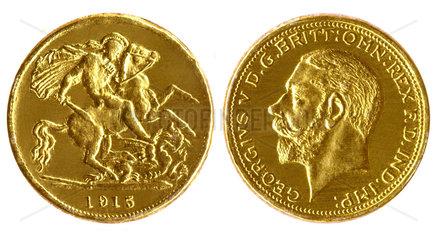1/2 Pfund  Sovereign  britische Goldmuenze  1915