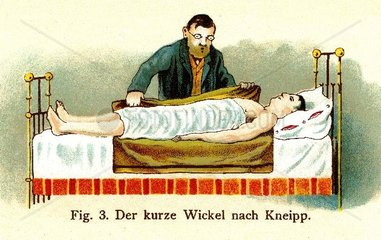 Hausarzt macht kalte Umschlaege  um 1902