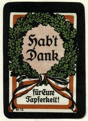 Dank an die deutschen Soldaten  Erster Weltkrieg  1915