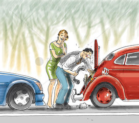Man fixing car while woman watches