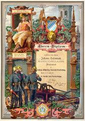 Ehren-Diplom Freiwillige Feuerwehr  1899