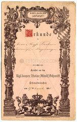 Urkunde  Vertrag  1891