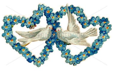 Turteltauben  Herzen  Liebessymbol  1891