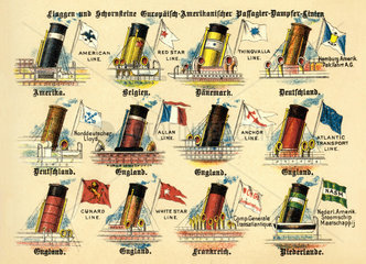 Flaggen und Schornsteine von Passagierdampfern  1899
