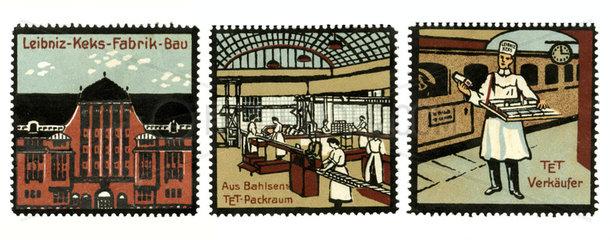 Leibniz Kekse  Bahlsen  Reklamemarken  1910