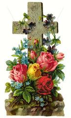 Grab mit Kreuz und Blumenschmuck  1891