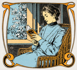 Frau beim Lesen  um 1910