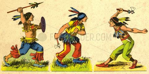 kampfende Indianer  Pappfigur  um 1908