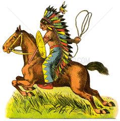 Indianer  Pferd  Pappfigur  um 1908