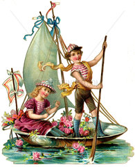 Bootsfahrt  Segelboot  1893