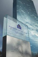 Frankfurt am Main  Deutschland  das Logo der EZB an einer Glastafel