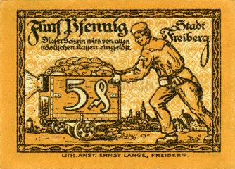 5 Pfennig Schein  Notgeld der Stadt Freiberg  1921