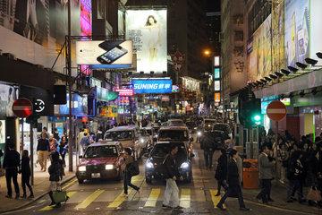 Hong Kong  China  Stadtansicht  die Nathan Road bei Nacht