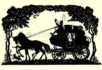 Pferdekutsche  Scherenschnitt  1840