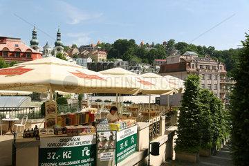 Karlsbad  Tschechische Republik  Verkaufsstand mit Karlsbader Oblaten