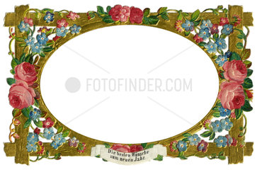 Bilderrahmen mit Blumen  Poesiebild  1885
