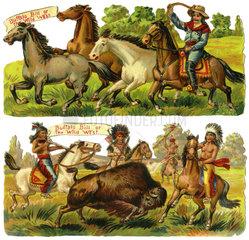 Cowboy und Indianer  Poesiebild  1890